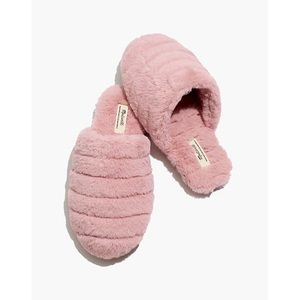 Madewell Quilted Scuff Slippers- Recycled Faux Fur